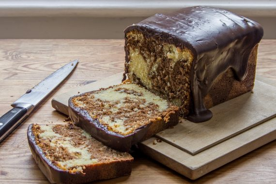 Above, coconut chocolate marble cake with bourbon chocolate glaze, the recipe's on the www.goodfood.com.auwebsite.