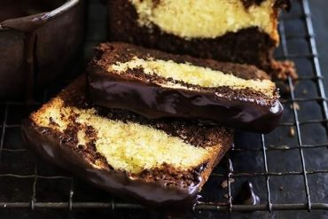 Above, coconut chocolate marble cake with a bourbon glaze, picture by William Meppem